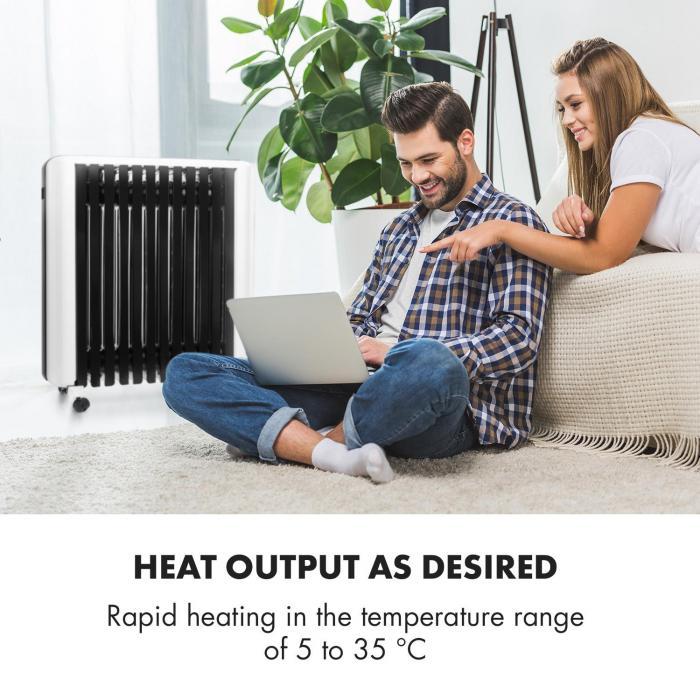Rozsah nastavitelných teplot olejového radiátoru Klarstein Thermaxx 2500