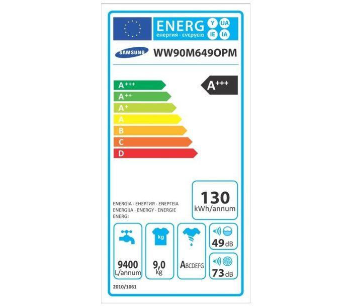 Samsung WW90M649OPM energetický štítek