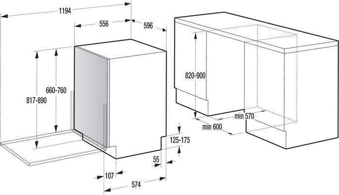 Gorenje GV64161 rozměry