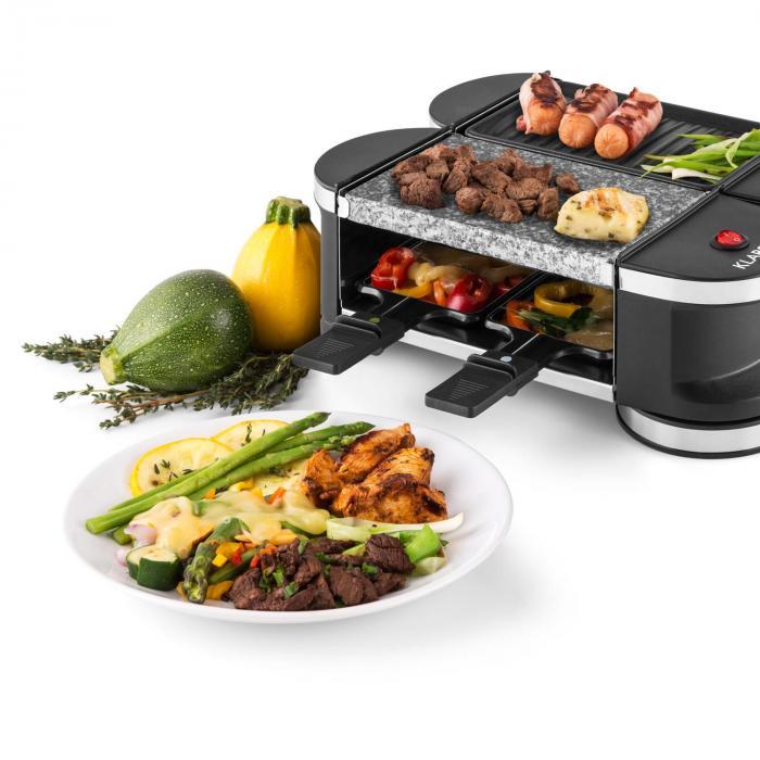 Příprava jídla na raclette grilu Klarstein Tenderloin Mini
