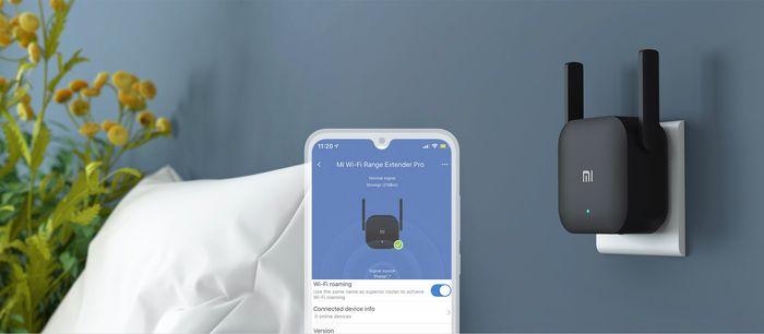 WiFi zesilovač Xiaomi Mi WiFi Range Extender Pro propojen s aplikací Mi Home