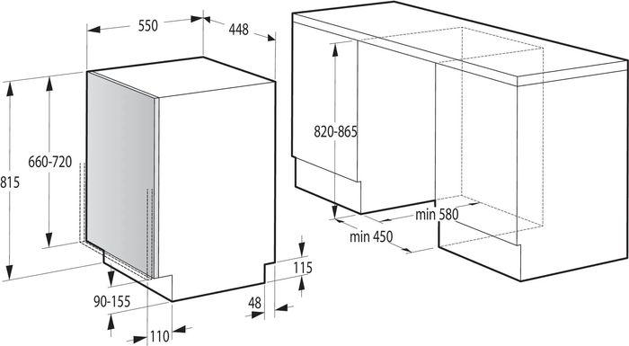 Gorenje GV520E10 rozměry
