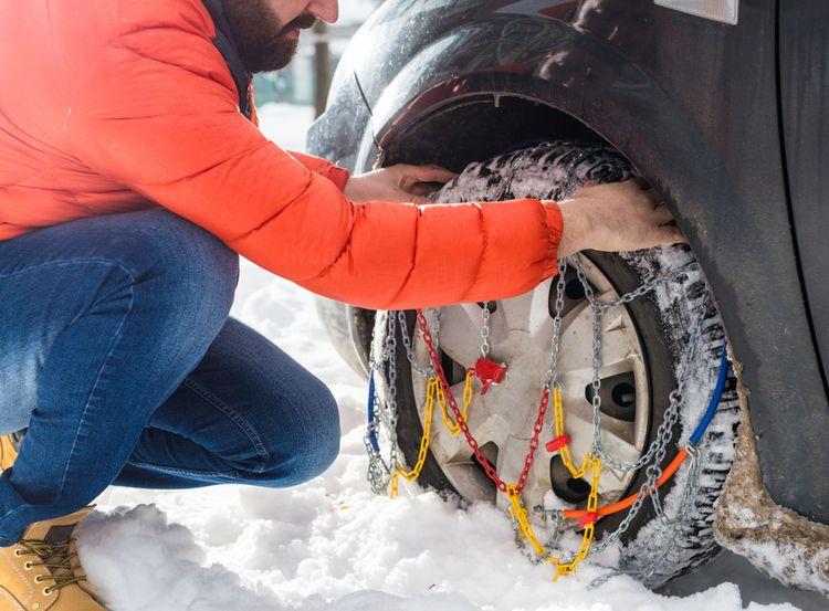 Nasazovaní sněhových řetězů