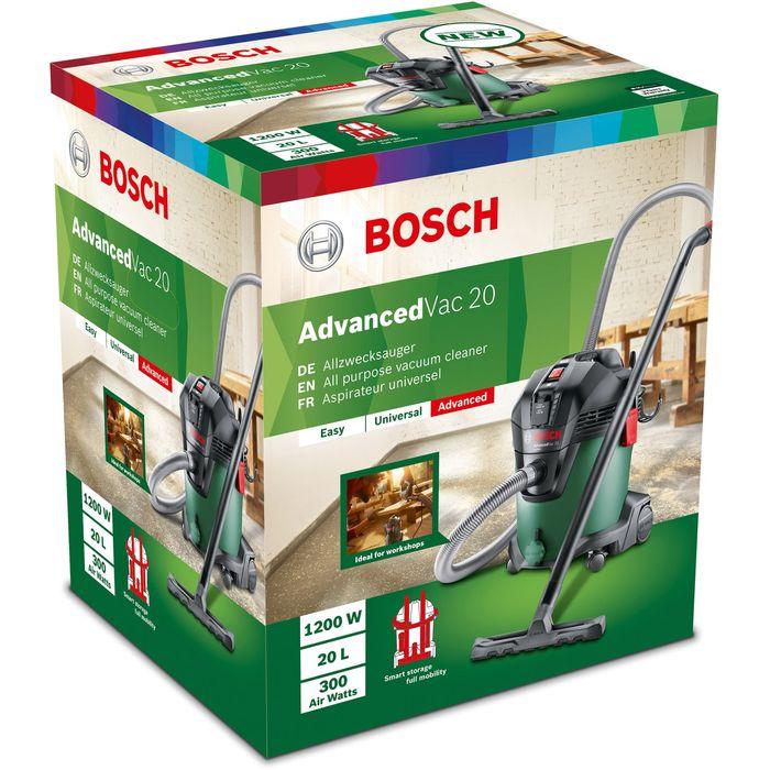 Průmyslový vysavač Bosch Advanced Vac 20 se může pochlubit bohatým příslušenstvím