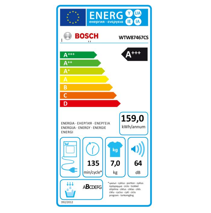 Energetický štítek sušičky prádla Bosch WTW87467CS