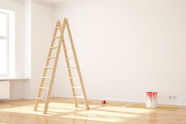 Áčkový dřevěný žebřík na malování