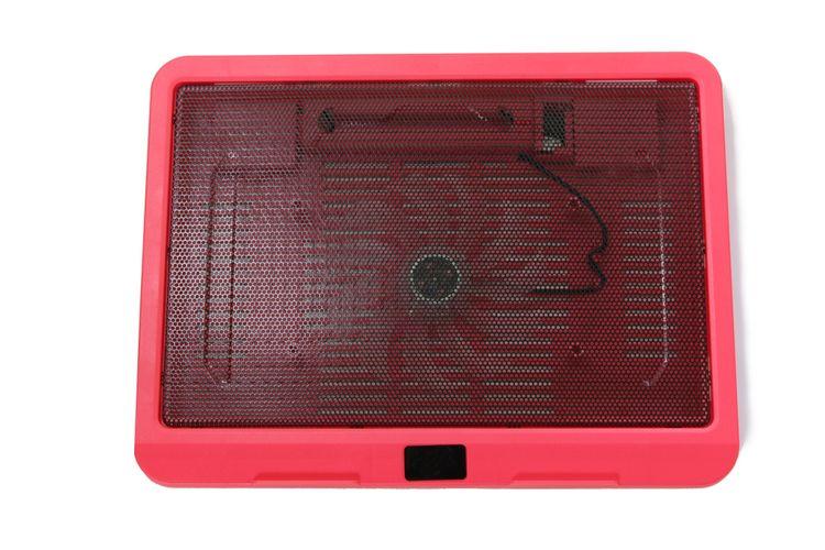 Červená chladící podložka pod notebook s 1 ventilátorem