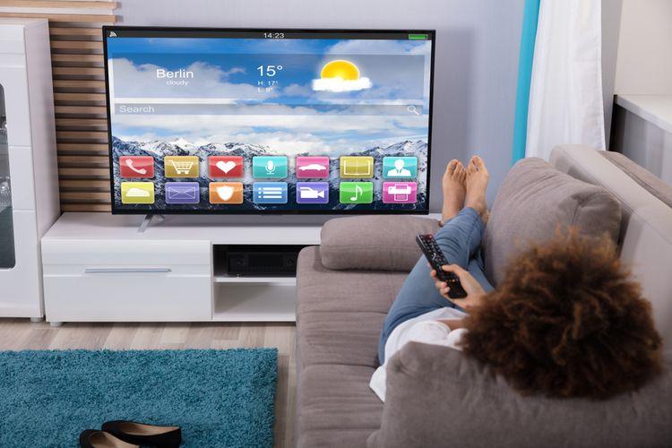 Televize v obývacím pokoji