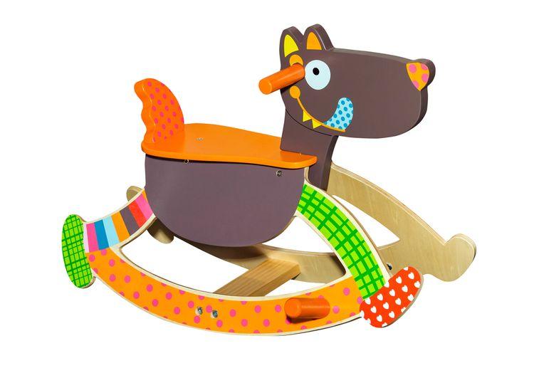 Barevný dřevěný houpací pes