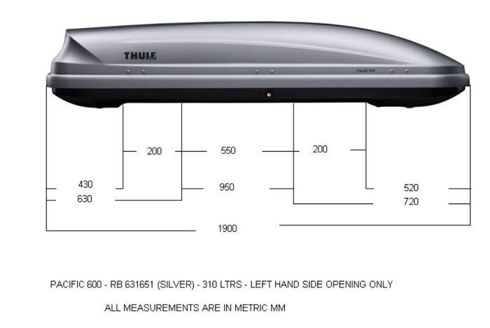Střešní box Thule Pacific 600 rozměry