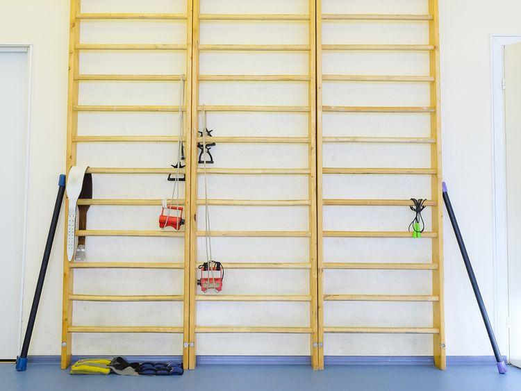Dřevěné žebřiny na cvičení