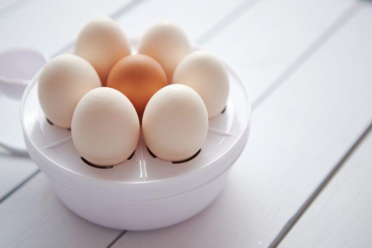 Bílý vařič vajec na 8 vajíček