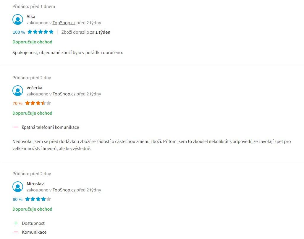 Top Shop recenze obchodu