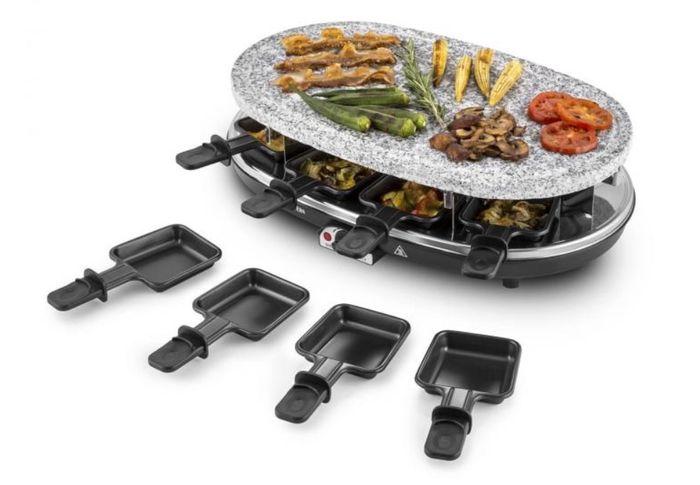 Příprava jídla na raclette grilu Klarstein Steaklette