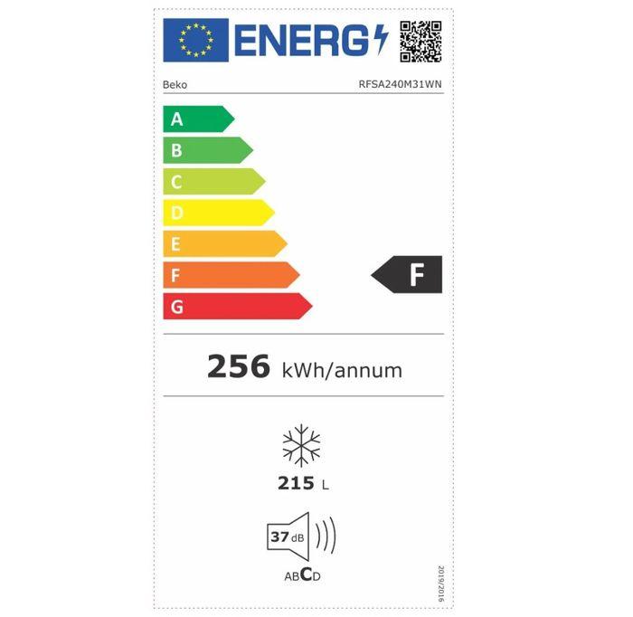 Mraznička Beko RFSA240M31WN energetický štítek